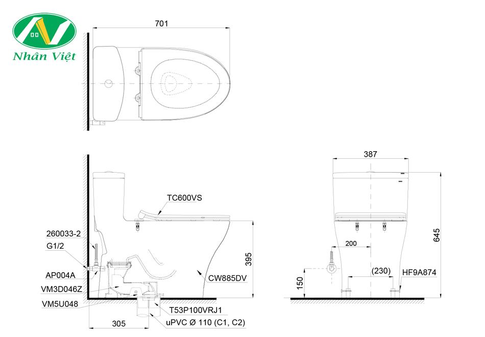Bản vẽ kỹ thuật bồn cầu Toto MS885DT8 một khối nắp TC600VS