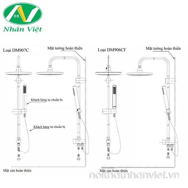 Bản vẽ kỹ thuật bộ sen cây TOTO TBG02302V/DGH108ZR/DM907C1S nóng lạnh 5 chế độ nước
