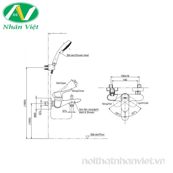 Bản vẽ kỹ thuật bộ sen tắm TOTO TBG01302V/TBW03002B nóng lạnh bát sen 5 chế độ