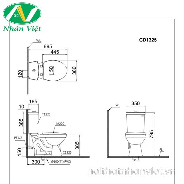 Bản vẽ kỹ thuật bồn cầu Caesar CD1325/TAF050 hai khối nắp rửa cơ