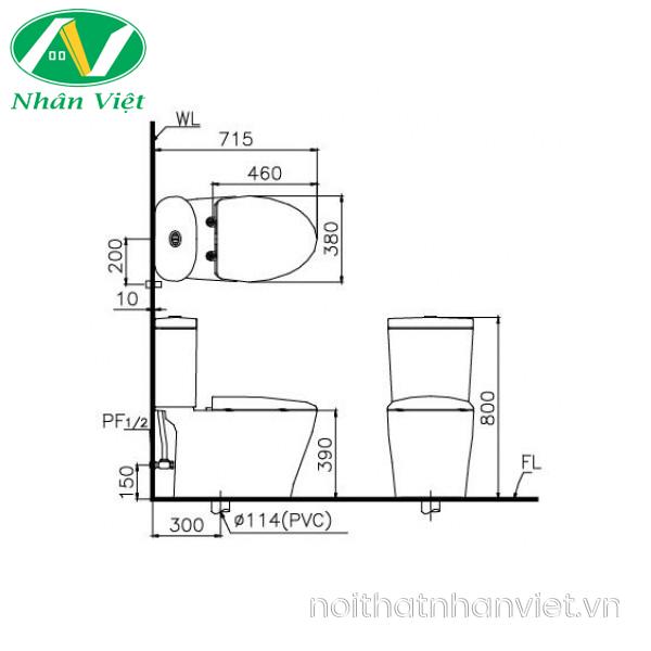 Bản vẽ kỹ thuật bồn cầu Caesar CD1348/TAF050 hai khối nắp rửa cơ