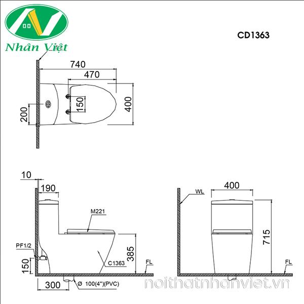 Bản vẽ kỹ thuật bồn cầu Caesar CD1363 một khối nắp êm
