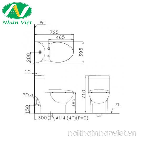 Bản vẽ kỹ thuật bồn cầu Caesar CD1375/TAF050 một khối nắp rửa cơ