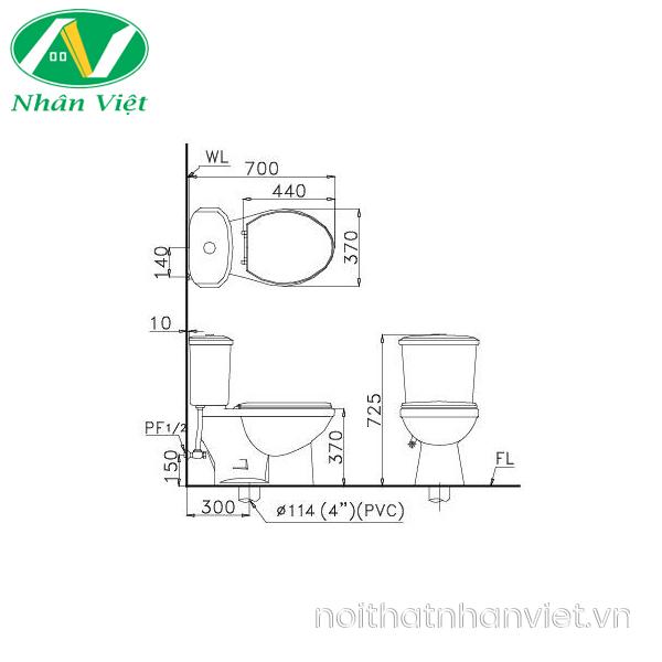 Bản vẽ kỹ thuật bồn cầu Caesar CT1338/TAF050 hai khối nắp rửa cơ