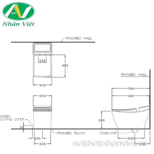 Bản vẽ kỹ thuật bồn cầu Cotto C10147 một khối