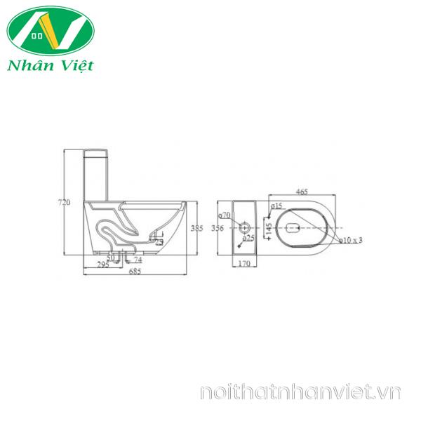 Bản vẽ kỹ thuật bồn cầu Viglacera V199/VG826 một khối/vòi xịt