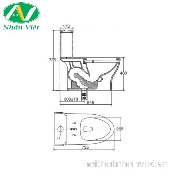 Bản vẽ kỹ thuật bồn cầu Viglacera V63/VG826 một khối