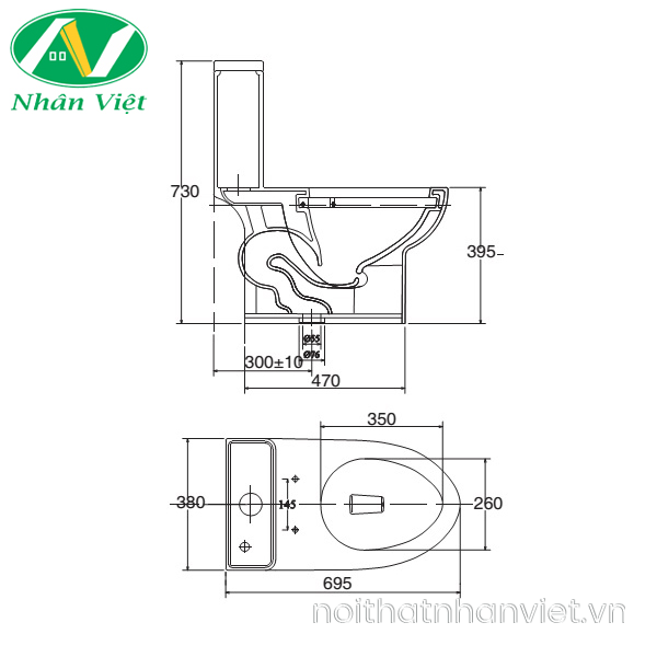 Bản vẽ kỹ thuật bồn cầu Viglacera V64/VG826 một khối