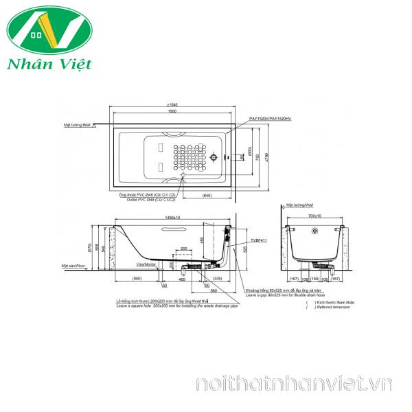 Bản vẽ kỹ thuật bồn tắm TOTO PAY1520V/TVBF411 xây 1.5m không tay vịn