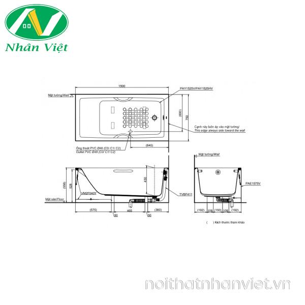 Bản vẽ kỹ thuật bồn tắm TOTO PAY1525HVC/TVBF411 chân yếm 1.5m có tay vịn