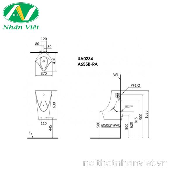 Bản vẽ kỹ thuật bồn tiểu CAESAR UA0234 cảm ứng treo tường