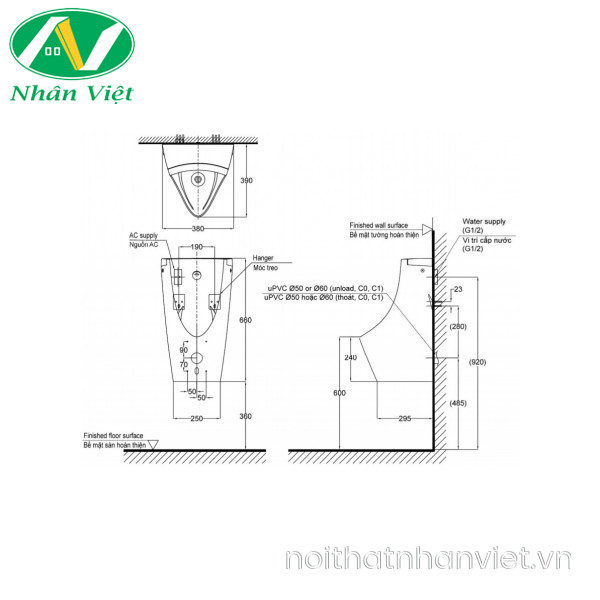 Bản vẽ kỹ thuật bồn tiểu TOTO USWN902ASV cảm ứng dùng điện ewater+