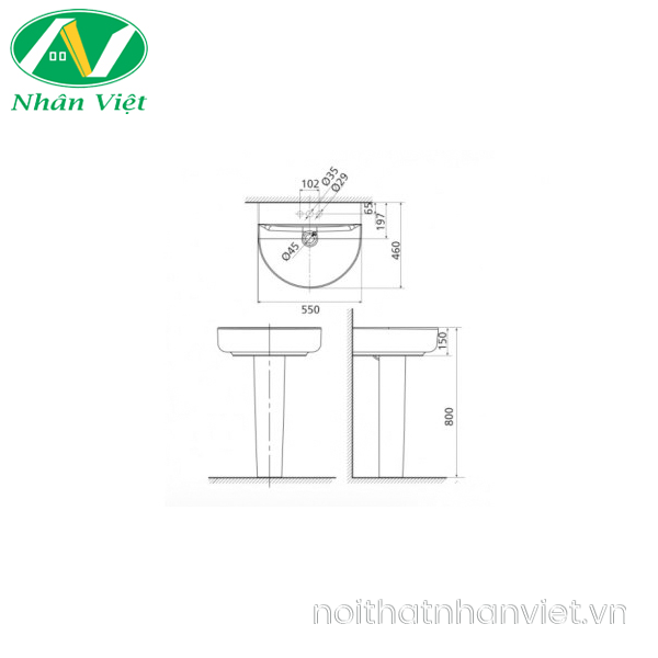 Bản vẽ kỹ thuật chậu lavabo/chân chậu American Standard 0553-WT/0742-WT treo tường