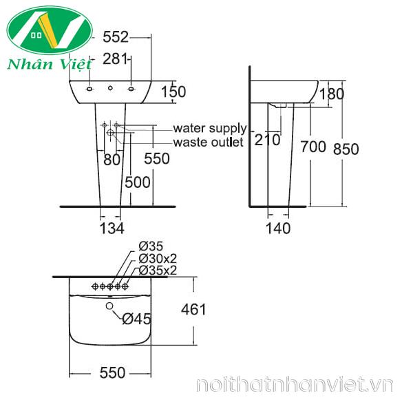 Bản vẽ kỹ thuật chậu lavabo/chân chậu American WP-1511/WP-f711 treo tường