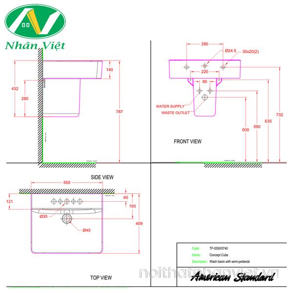 Bản vẽ kỹ thuật chậu lavabo/chân chậu American WP-F550/0740-WT treo tường