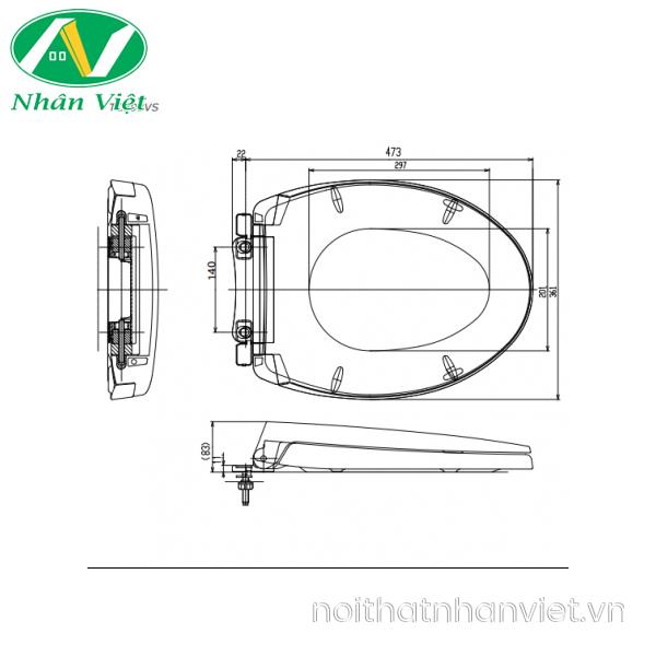Bản vẽ kỹ thuật nắp bồn cầu đóng êm TOTO TC393VS