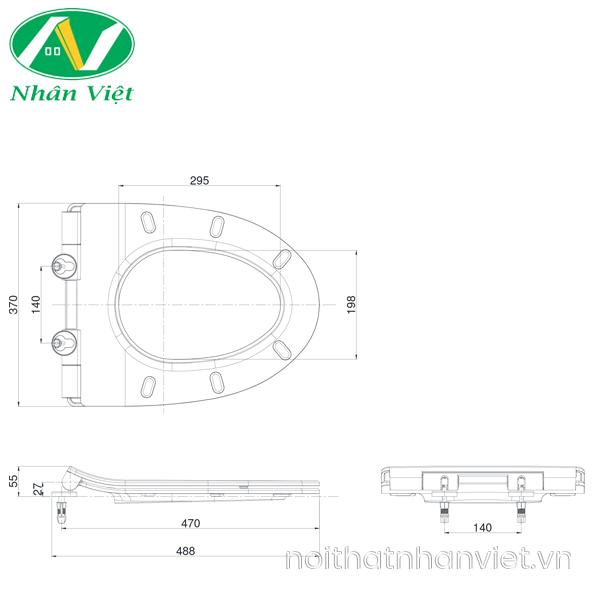 Bản vẽ kỹ thuật nắp bồn cầu đóng êm TOTO TC600VS