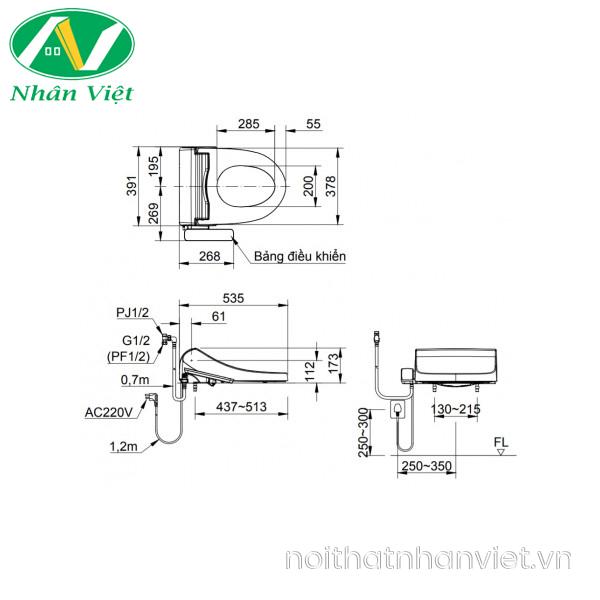 Bản vẽ kỹ thuật nắp rửa điện tử Inax CW-H18VN