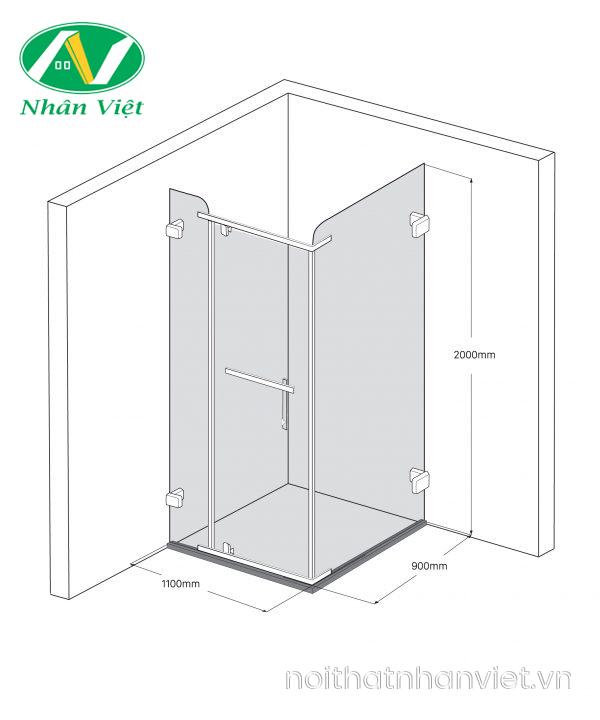 Bản vẽ kỹ thuật phòng tắm kính Fendi Bộ Góc FDG-1X3