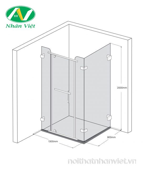 Bản vẽ kỹ thuật phòng tắm kính Fendi Bộ Góc FDG-2X4