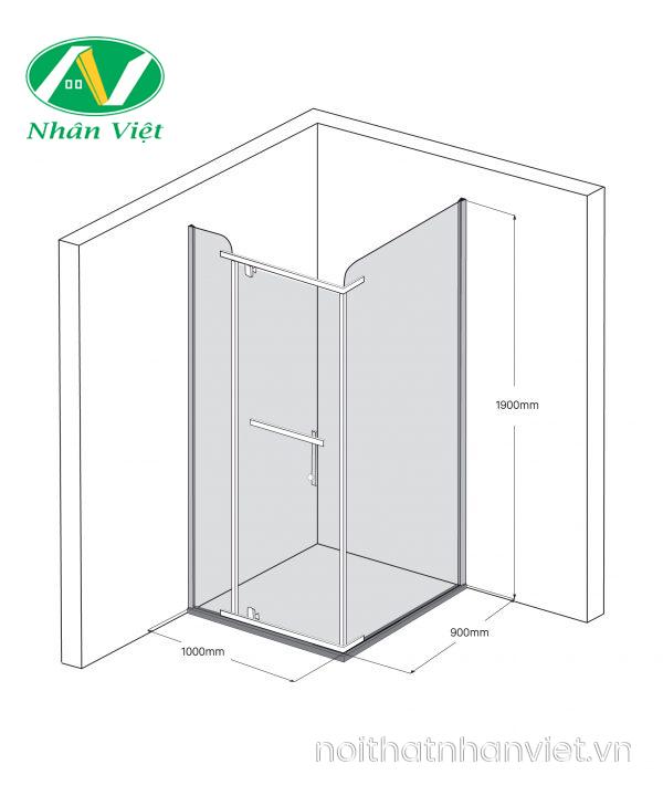 Bản vẽ kỹ thuật phòng tắm kính Fendi Bộ Góc FIG-1X3