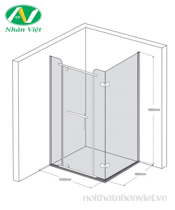 Bản vẽ kỹ thuật phòng tắm kính Fendi Bộ Góc FIG-2X4