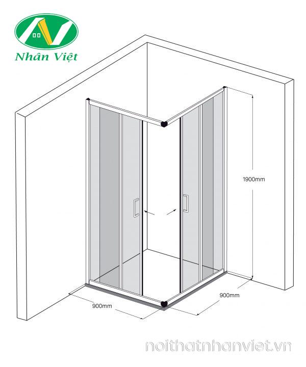 Bản vẽ kỹ thuật phòng tắm kính Fendi Bộ Góc FKG-1X4