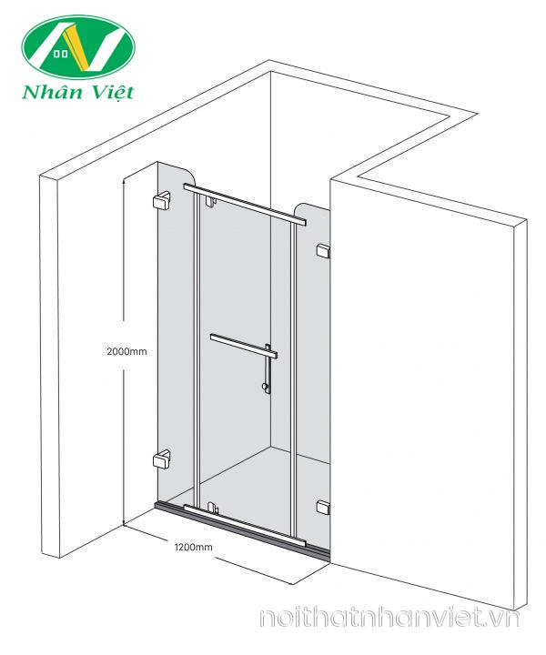 Bản vẽ kỹ thuật phòng tắm kính Fendi Bộ Phẳng FDP-1X3