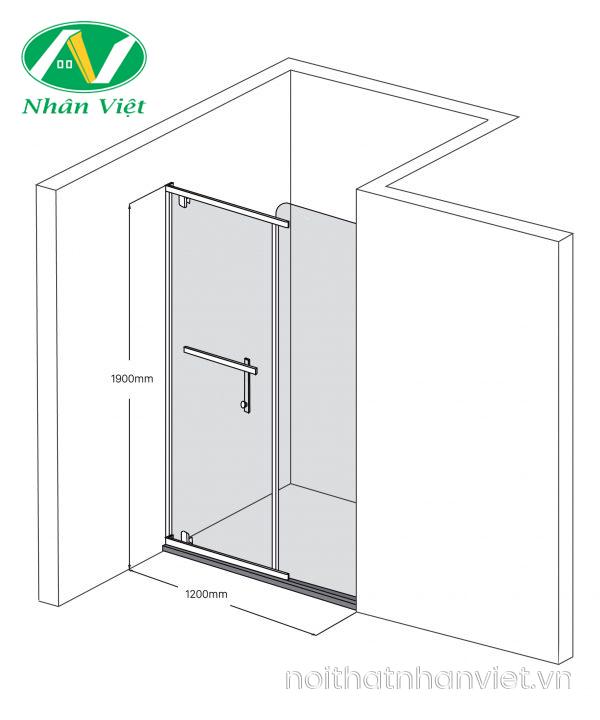 Bản vẽ kỹ thuật phòng tắm kính Fendi Bộ Phẳng FIP-2X2
