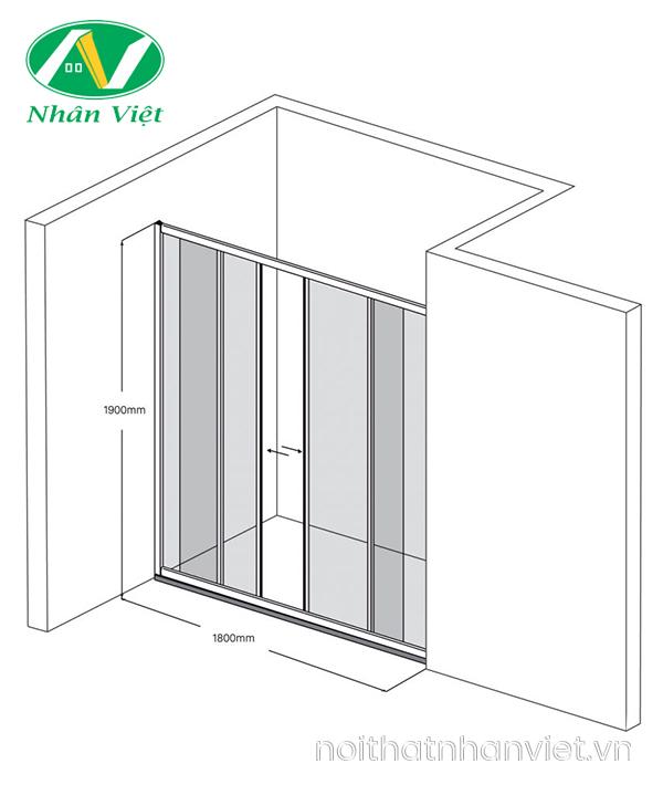 Bản vẽ kỹ thuật phòng tắm kính Fendi Bộ Phẳng FKP-3X4