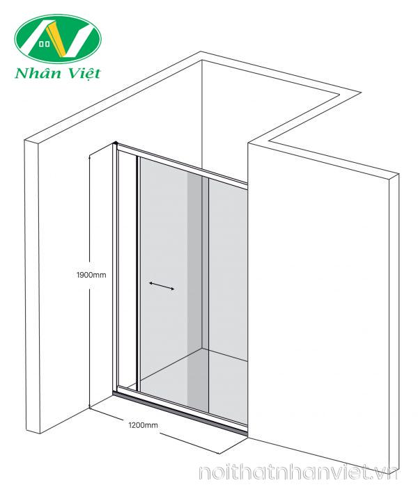 Bản vẽ kỹ thuật phòng tắm kính Fendi Bộ Phằng FKP-4X2