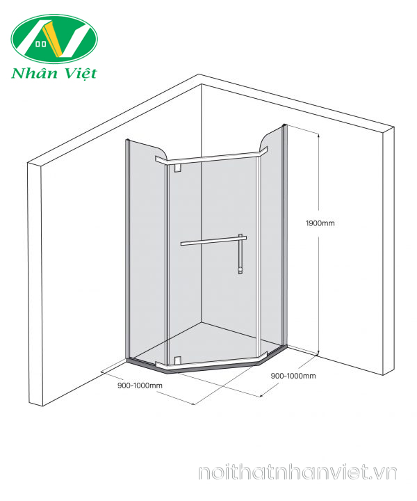 Bản vẽ kỹ thuật phòng tắm kính Fendi Bộ Vát FIV-1X3