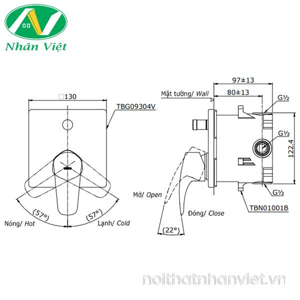 Bản vẽ kỹ thuật van gật gù điều chỉnh nóng lạnh TOTO TBG09304V/TBN01001B nút nhấn