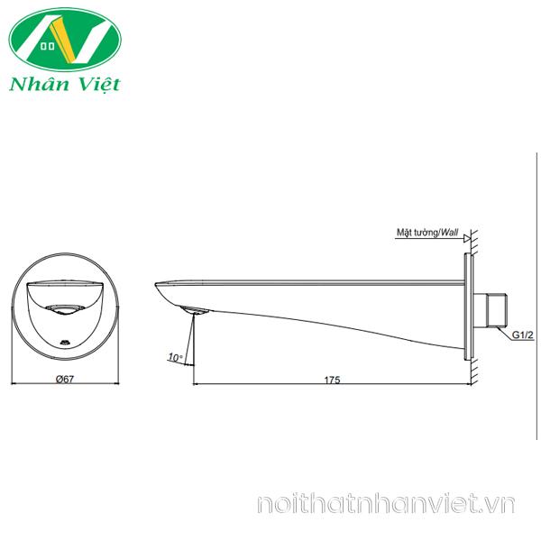 Bản vẽ kỹ thuật vòi bồn tắm TOTO TBG02001B gắn tường nóng lạnh