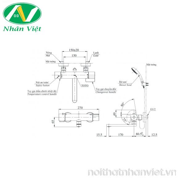 Bản vẽ kỹ thuật vòi bồn tắm TOTO TBV03427V/TBW02017A nhiệt độ xả bồn