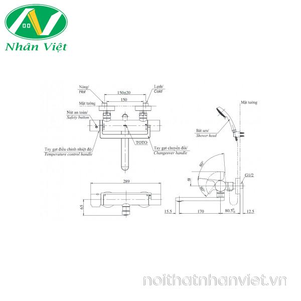 Bản vẽ kỹ thuật vòi bồn tắm TOTO TBV03429V/DGH108ZR nhiệt độ