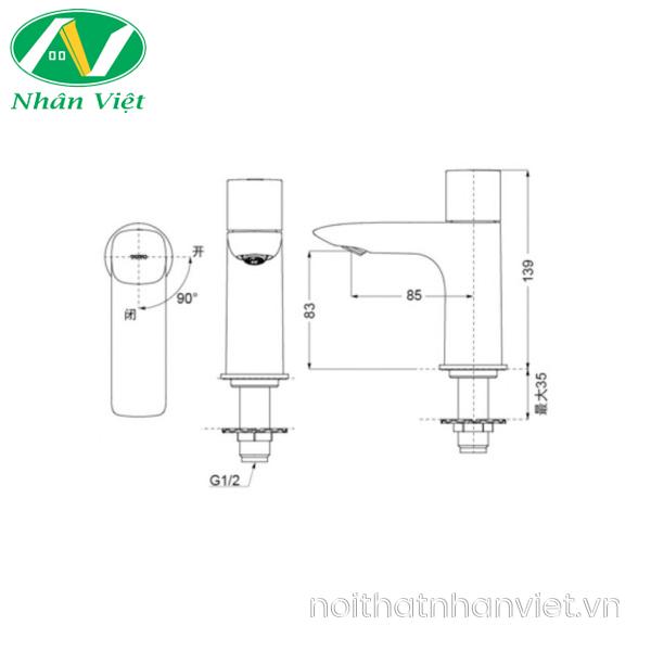 Bản vẽ kỹ thuật vòi lavabo Toto TS105B13 lạnh