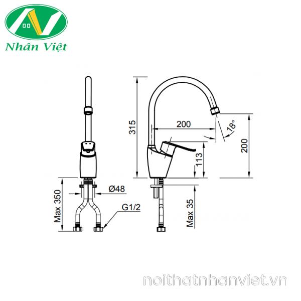 Bản vẽ kỹ thuật vòi rửa chén Inax SFV-2011S nóng lạnh