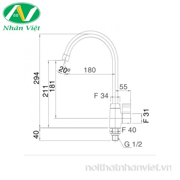 Bản vẽ kỹ thuật vòi rửa chén Inax SFV-21 lạnh
