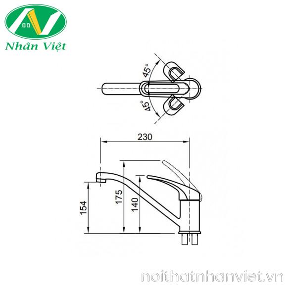 Bản vẽ kỹ thuật vòi rửa chén Inax SFV-212S nóng lạnh