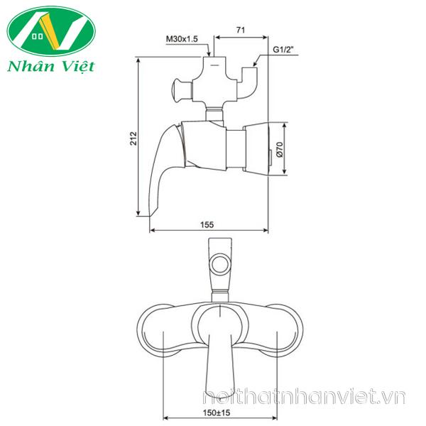 Bản vẽ kỹ thuật vòi sen tắm American Standard WF-3172 phun mưa nóng lạnh
